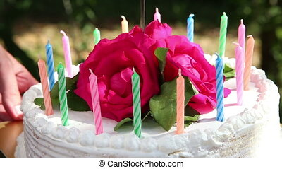 cake with candles and flower cut