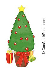 Decorative Xmas Tree with Gift Boxes Vector Illustration