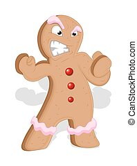 Angry Cartoon Gingerbread Man Chara - Cartoon Angry...