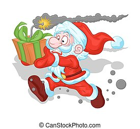 Scared Santa Running with Bomb Gift