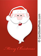 Laughing Santa Face Christmas Greeting Vector Template...