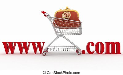 Concept of shopping on the web sites of commercial 3d...