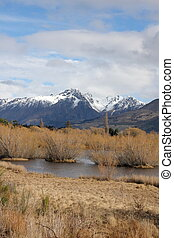 Glenorchy lagoon and mountains in New Zealand