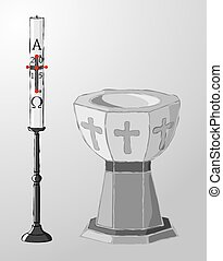 Baptismal font and paschal candle, - Stone baptismal font...