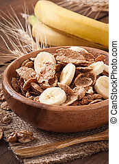 Healthy breakfast - whole grain muesli with a banana