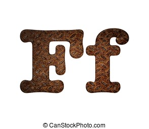Letter F rusty metal - Illustration with F letter in rusty...