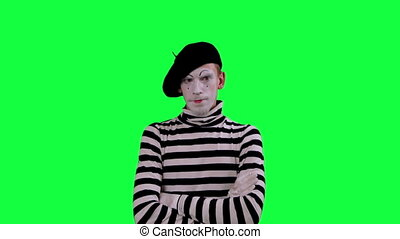 The mime boy laughs hysterically - The boy mime against a...