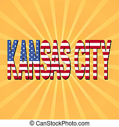 Kansas City flag text with sunburst illustration
