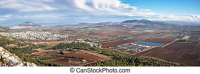 view of the Jezreel Valley, lower Galilee, Israel - view of...