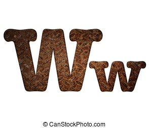 Letter W rusty metal. - Illustration with W letter in rusty...