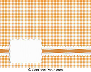 Gingham fabric back with embossed style label. Neutral honey...