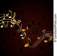 Music notes - Gold music notes on a solide black background