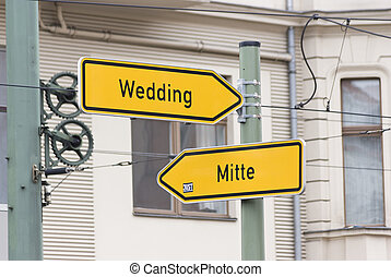 Wedding and Mitte road sign in Berlin, Germany