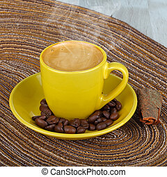 cup coffee - yellow cup coffee with coffee beans