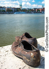 Shoes on the Danube Bank monument in Budapest, Hungary - The...
