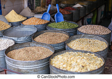 Various spices at the market Marrakech, Morocco - Various...