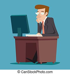 Businessman Character at desk working on computer Stylish Background Retro Cartoon Design Vector Illustration