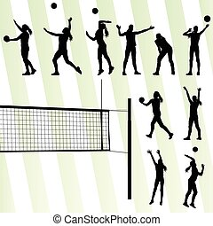 Volleyball woman player vector background set