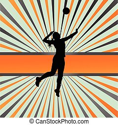 Volleyball woman player vector background concept