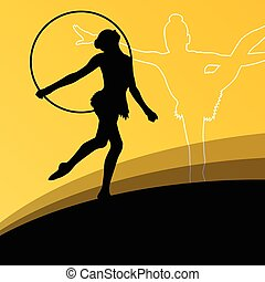 Active young girl gymnasts silhouettes in acrobatics...