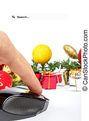 Hand with computer mouse and presents