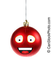 one smiley animated or illustrated red round ornament for Christ