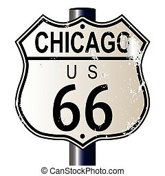 Chicago Route 66 Highway Sign - Chicago Route 66 traffic...