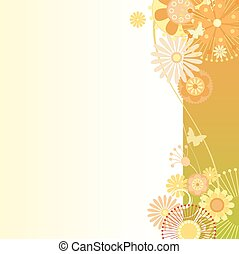 Floral background in greenish-orange - Vector illustration...