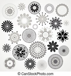 Black and white flowers - Vector illustration of a black and...