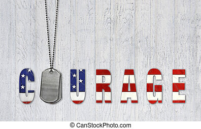 dog tags for courage - Military dog tags with flag font for...