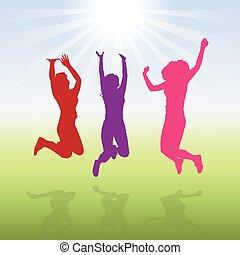 3 Jumping Women Girls