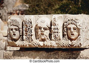 griego, teatro, máscaras,