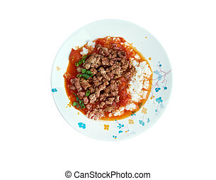 Ali Nazik kebab - Turkish appetizer of meat, tomatoes and...