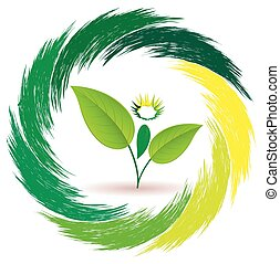 Logo person plants - Man plant. Sign unity of man and...