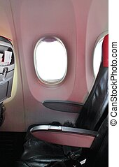 airplane cabin - Airplane cabin aisle with rear view and...