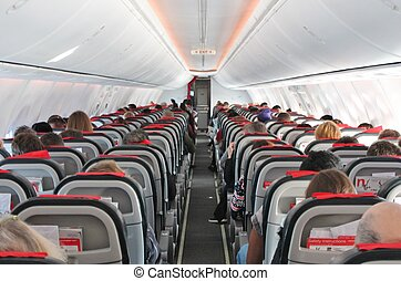 airplane cabin aircraft seats travel aisle - Airplane...