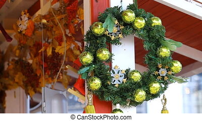 Christmas wreath handle on christmas trade wooden shop