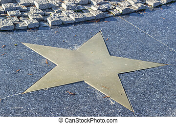 Bronze star in marble pavement