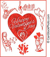 Happy valentines day - vector set.
