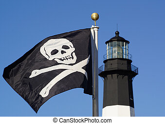Jolly Roger flag in front of top of lighthouse