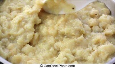 Close view of potato and leek soup - Close video of potato...