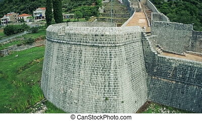 Fortress Arcimun and Ston walls - Copter aerial view of the...