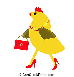 Spring chicken character with bling, handbag. Fun hen. -...