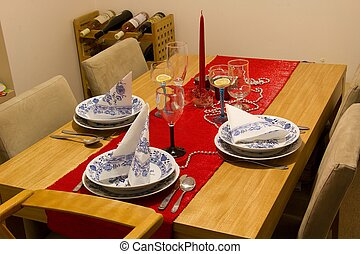 Christmas Dinner Table with red candle