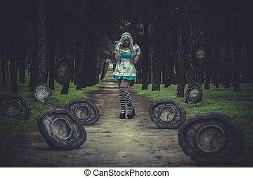 Clock field, alice in wonderland, beautiful girl in a magic...