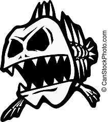Bad Bone Fish - A cartoon of a skeletal fish. Vector and...