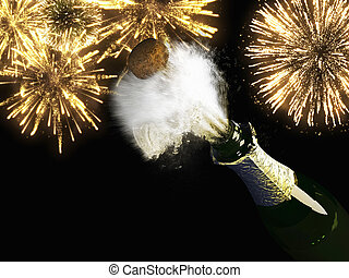 Champagne bottle and cork with lit firework - A Champagne...
