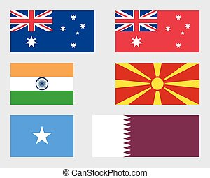 Set of flags 01 - Australian, Indian, Macedonian, Somalian...