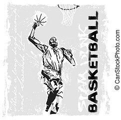 slam dunk basketball player - basketball vector illustration...