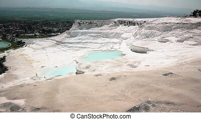 Travertines With Water In Pamukkale - travertines with blue...